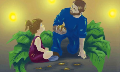Helping Father in the Garden on a Summer Night