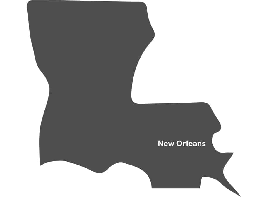 An illustration of Louisiana with New Orleans text.