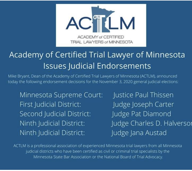 Academy of Certified Trial Lawyers of Minnesota Endorsement
