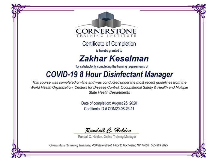 COVID-19 Certification - 8-hour Disinfectant Manager