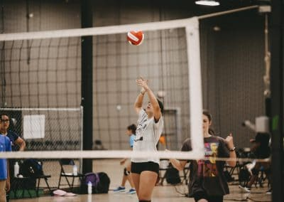 Volleyball player getting ready to hit the ball.