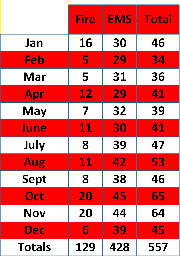 2020 Monthly Call Volumes