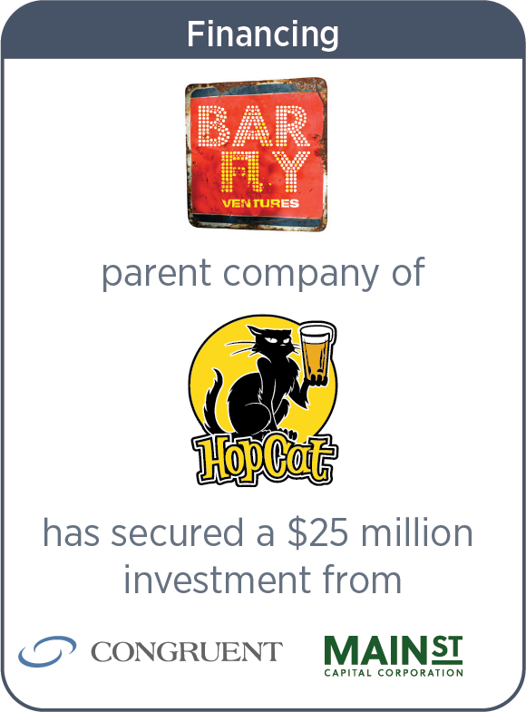 BarFly Ventures Raised Capital From Congruent Investment Partners and Main Street Capital Corporation