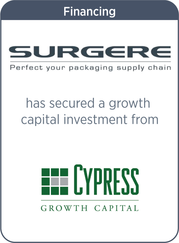 Surgere has secured a growth capital investment from Cypress Growth Capital
